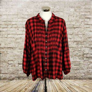 Plus Vintage America Red Black Flannel Top Size 2X
